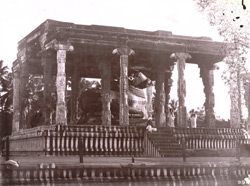 General view of the Nandi Pavilion in the Brihadishvara Temple, Thanjavur